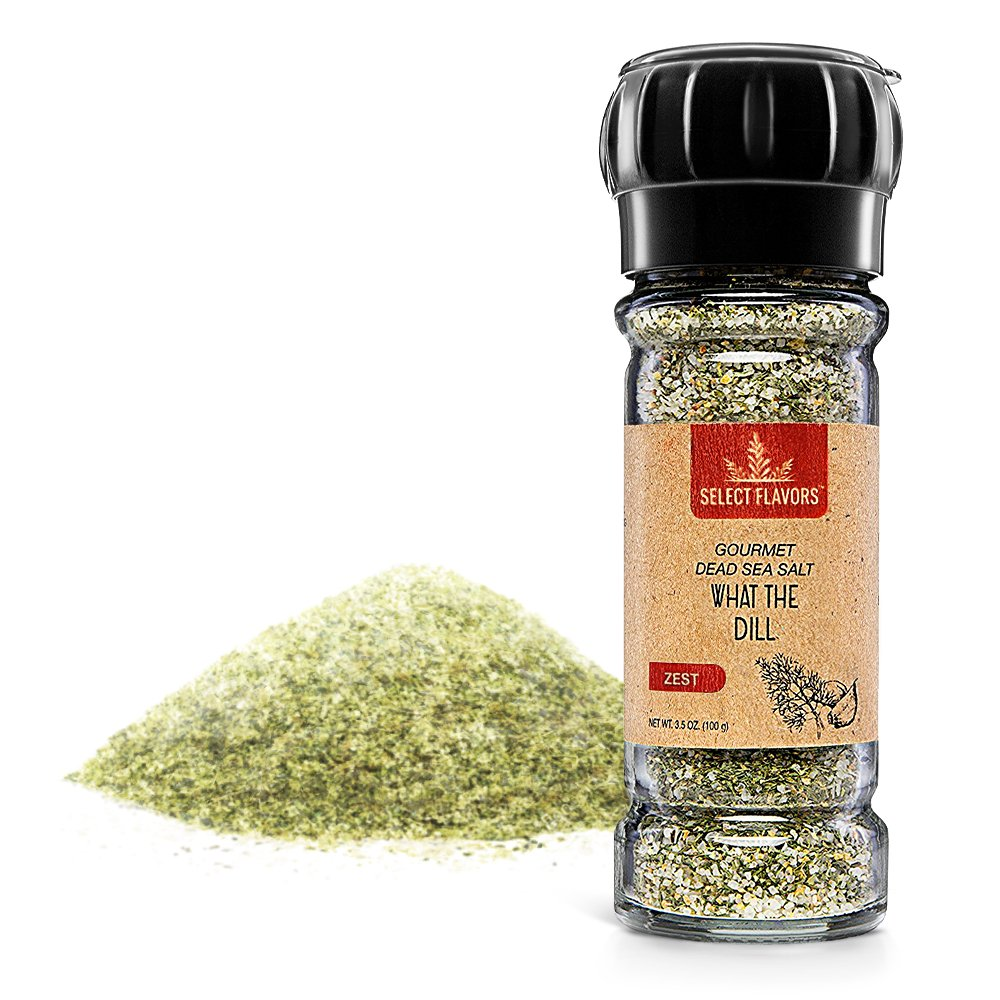 Select Flavors Zesty Gourmet Dill Weed Seasoning with Tarragon, Garlic, and Lemon 3.5 oz Grinder Top