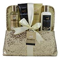 Gloss! Coffret Cadeau - Cadeau Femme - Coffret de Bain à paillettes format pochette senteur fleurs blanches et musk BLOOMFIELD Collection - 4pcs