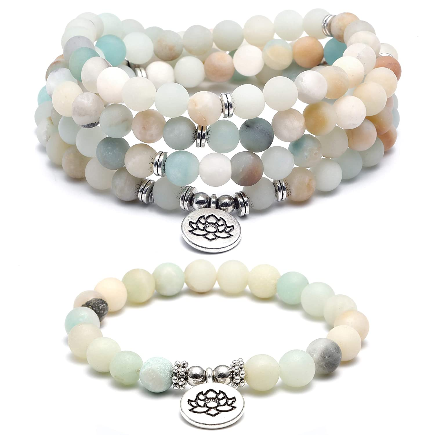SOOWOOT 8mm Natural Amazonite Beads Healing Gemstone 108 Mala Beads Wrap Bracelet Necklace for Yoga Charm Bracelet Jewelry for Women Men