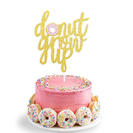 Amazon Double Sided Glitter Donut Grow Up Cake Topper Kids Birthday Party Decoration Supplies Toys Games