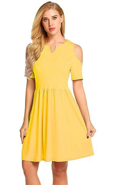 3388bd436d37 POGTMM Women's Summer Cute V Neck Cut Out Shoulder Mini Dress (01Yellow, ...