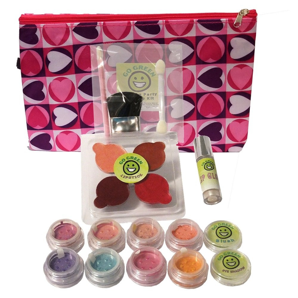 Go Green Make Up Kit - Real Organic Make Up Set for Girls, Includes Lipstick, Blush, Eye Shadow, Lip Gloss, and Brush Set, Perfect for Play Dates, Parties or Perfect for Summer Activities by Go Green Face Paint
