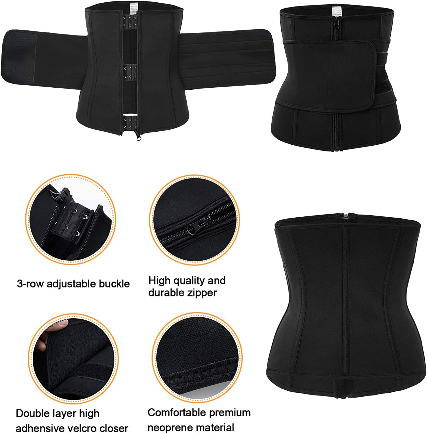 Ursexyly Women Waist Trainer Cincher Belt Tummy Control Sweat Girdle Workout Slim Belly Band for Weight Loss