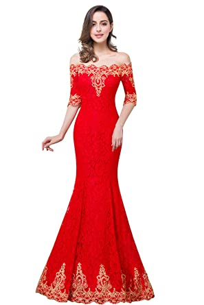 6fbe0b1bc1b MisShow Women Off Shoulder Mermaid Lace Evening Dresses Long Red Prom Gowns