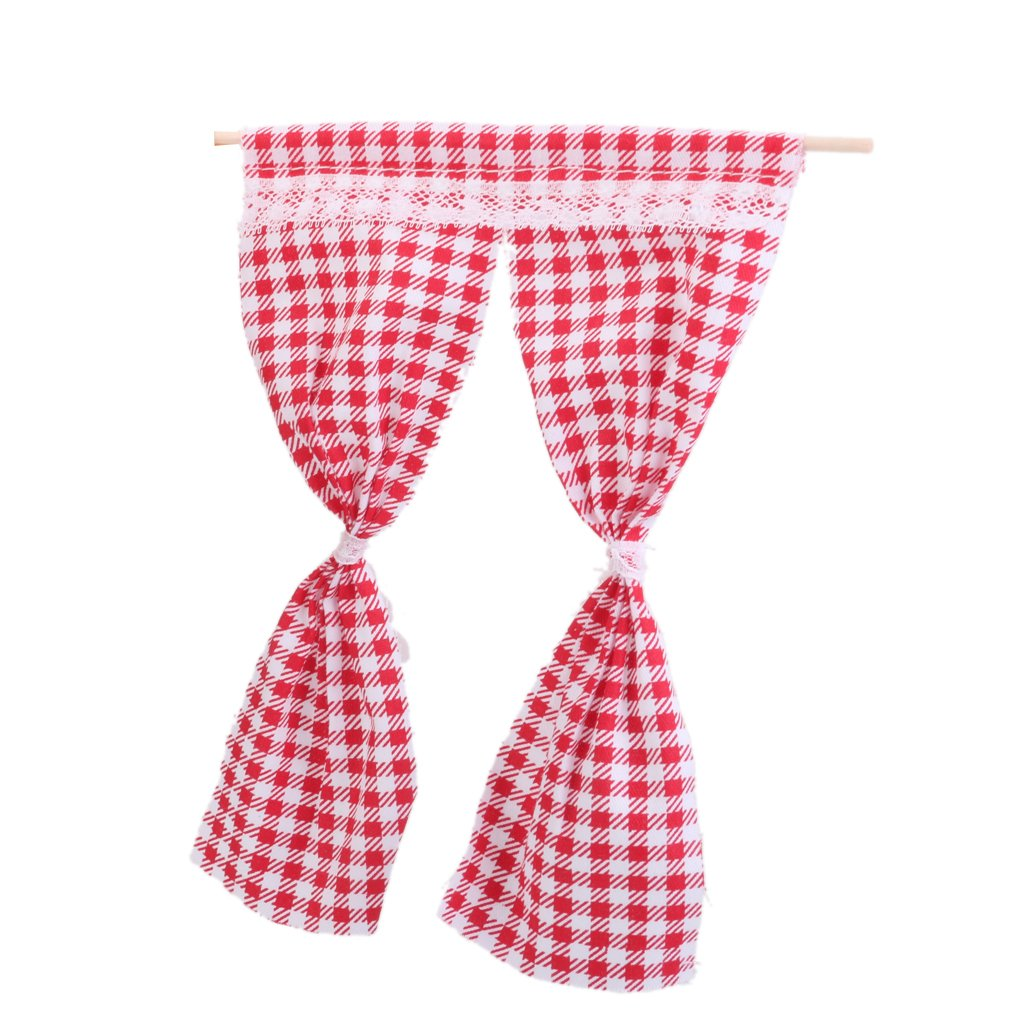 1/12 Dollhouse Miniature Curtain Handicrafts Model Decoration Red Grid Generic 15014191