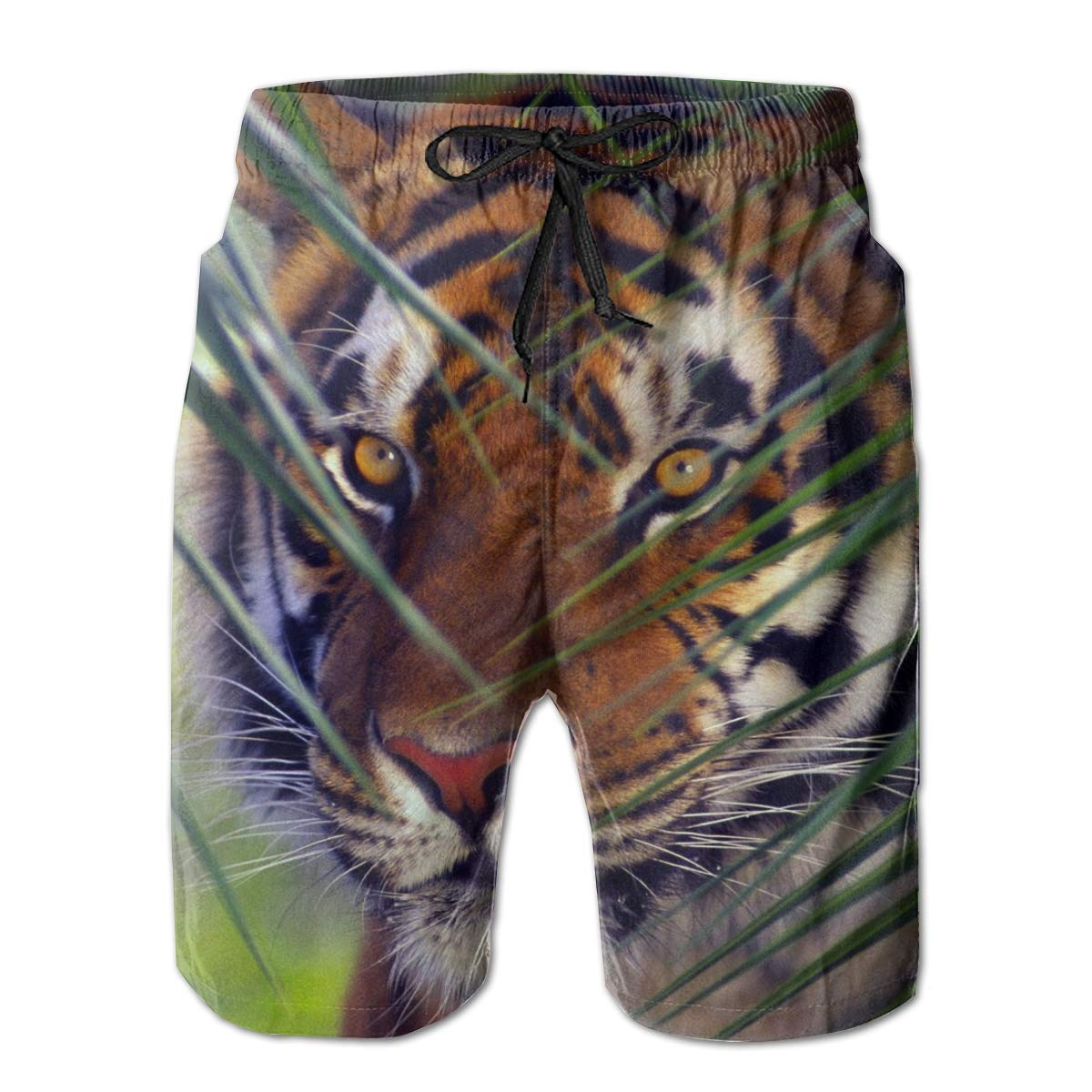 SINOVAL Tiger face Leaves Look Striped Mens Summer Swim Trunks 3D Graphic Quick Dry Funny Beach Board Shorts with Mesh Lining