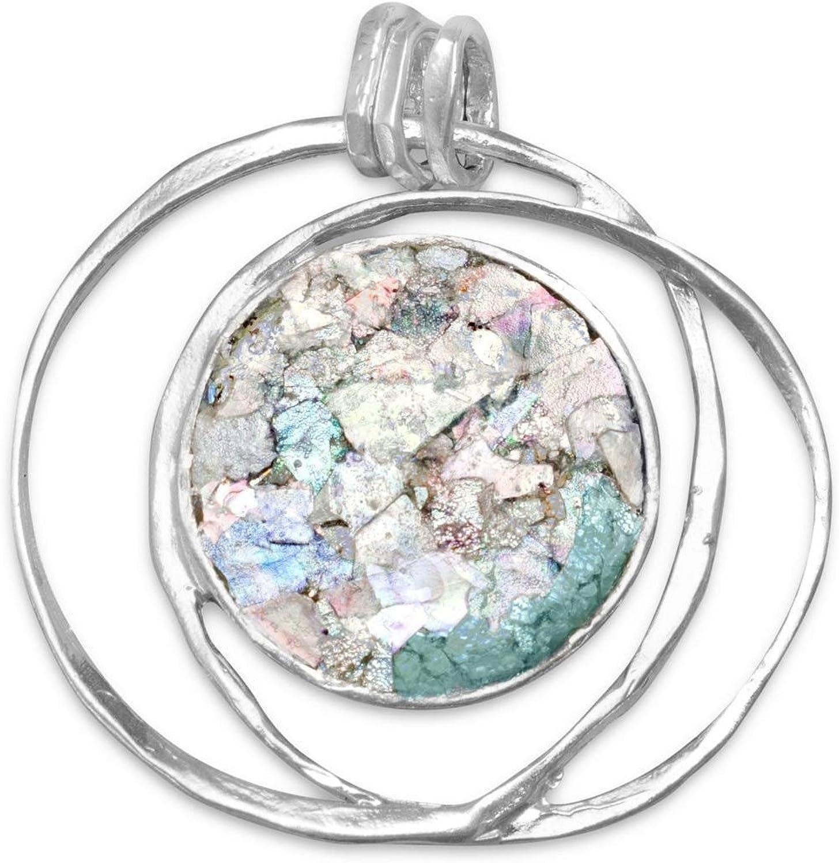 18.5 Inch Antique Roman Glass Sterling Silver Necklace 925 Roman Glass Pendant With 925 Necklace Authentic Vintage Roman Glass Pendant
