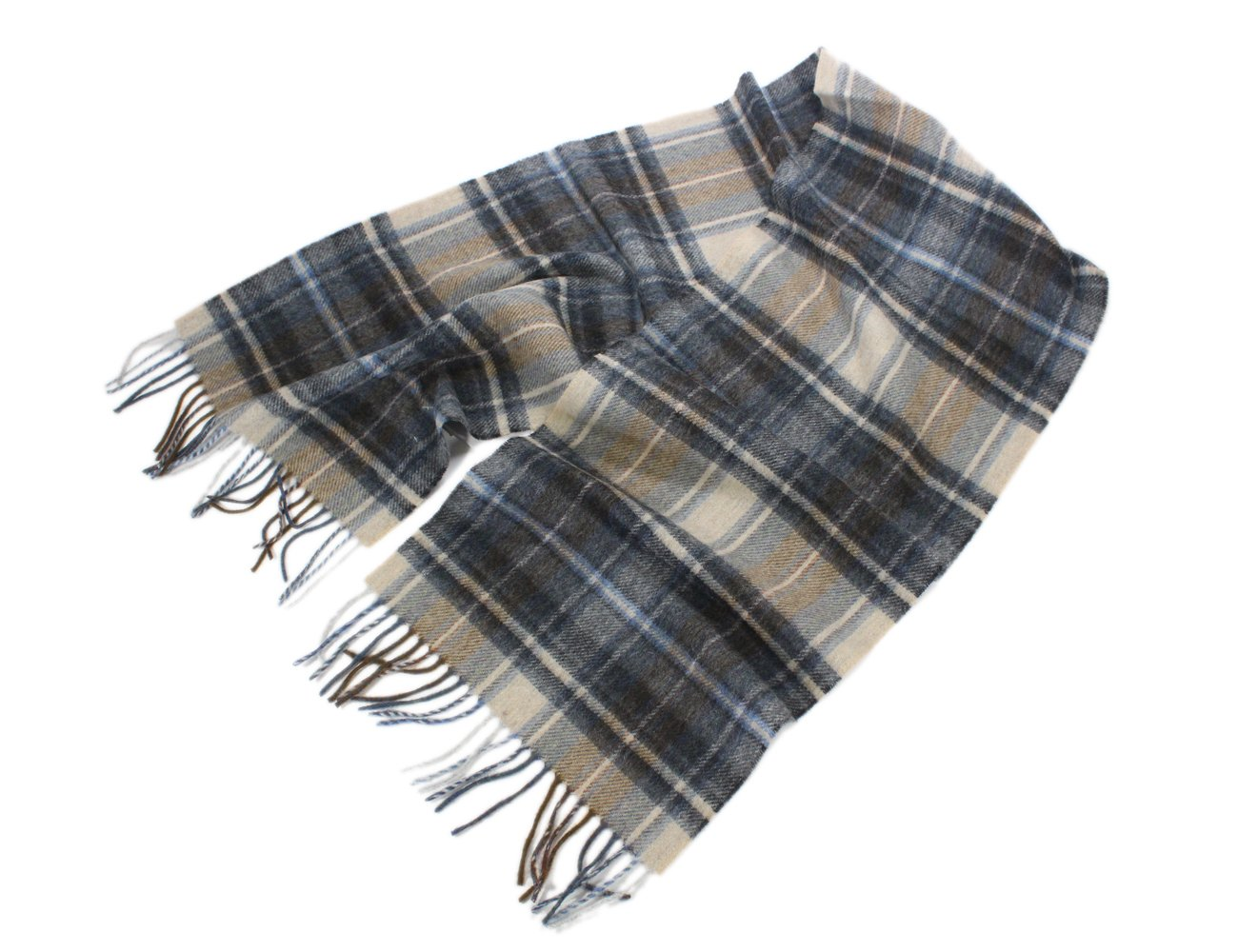 Set of 12 Lambswool Scarves Black & Tan Plaid From Ireland 63'' x 12''