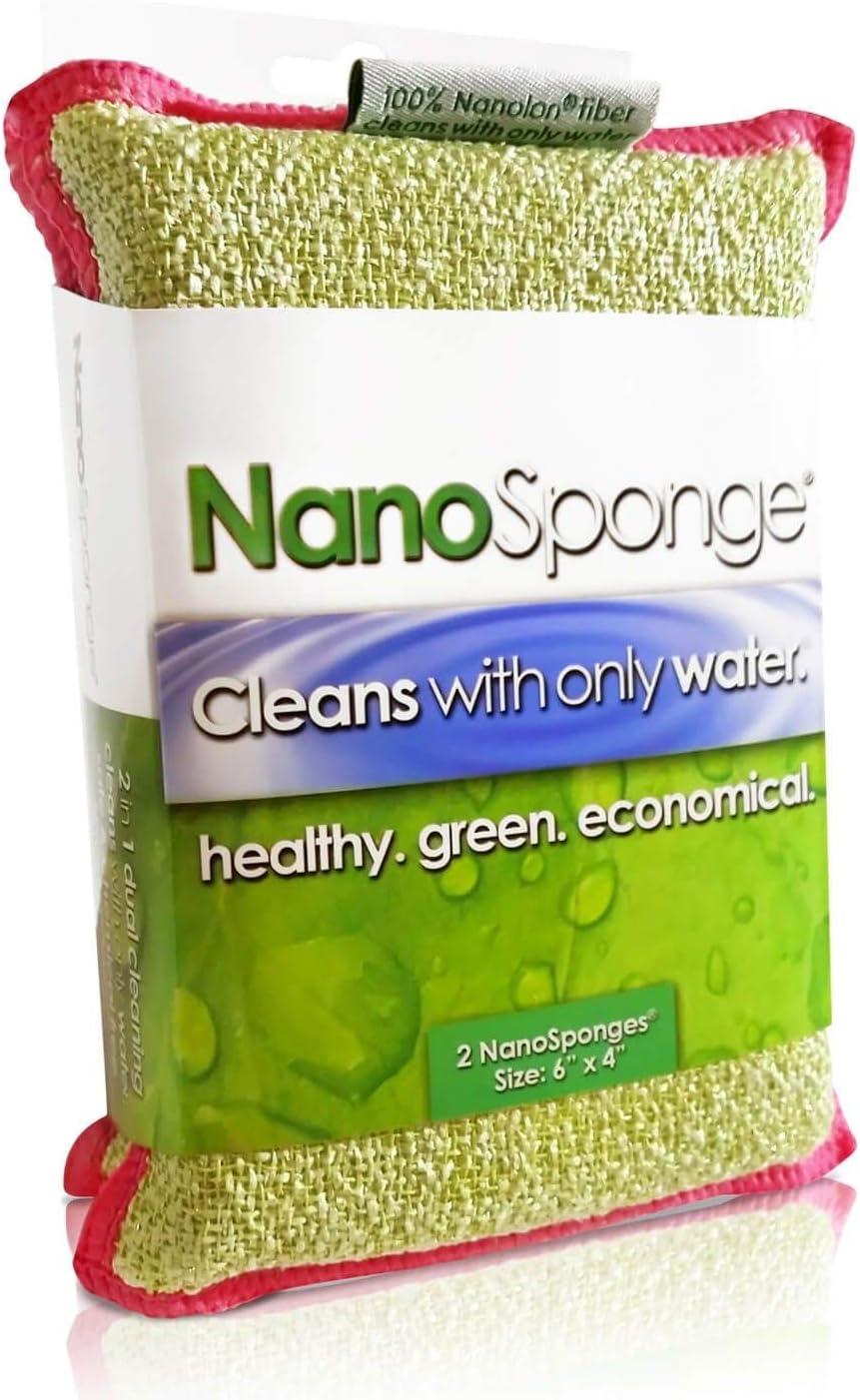 "Nano Sponge Cleaning Sponges   Supersized Everyday Heavy Duty Large Household Kitchen, Dish, Tile, Floor & Baseboard Cleaner Sponge   2 Pack 6 x 4"""