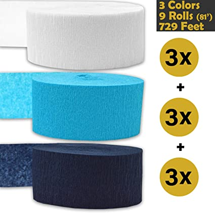 - For party Decorations and Crafts 3 rolls per color, 81 foot each roll English Rose 9 rolls Flame Resistant Crepe Party Streamers Bleed Resistant Seafoam Green 739 ft Teal Made in USA 243 per color 3 Colors