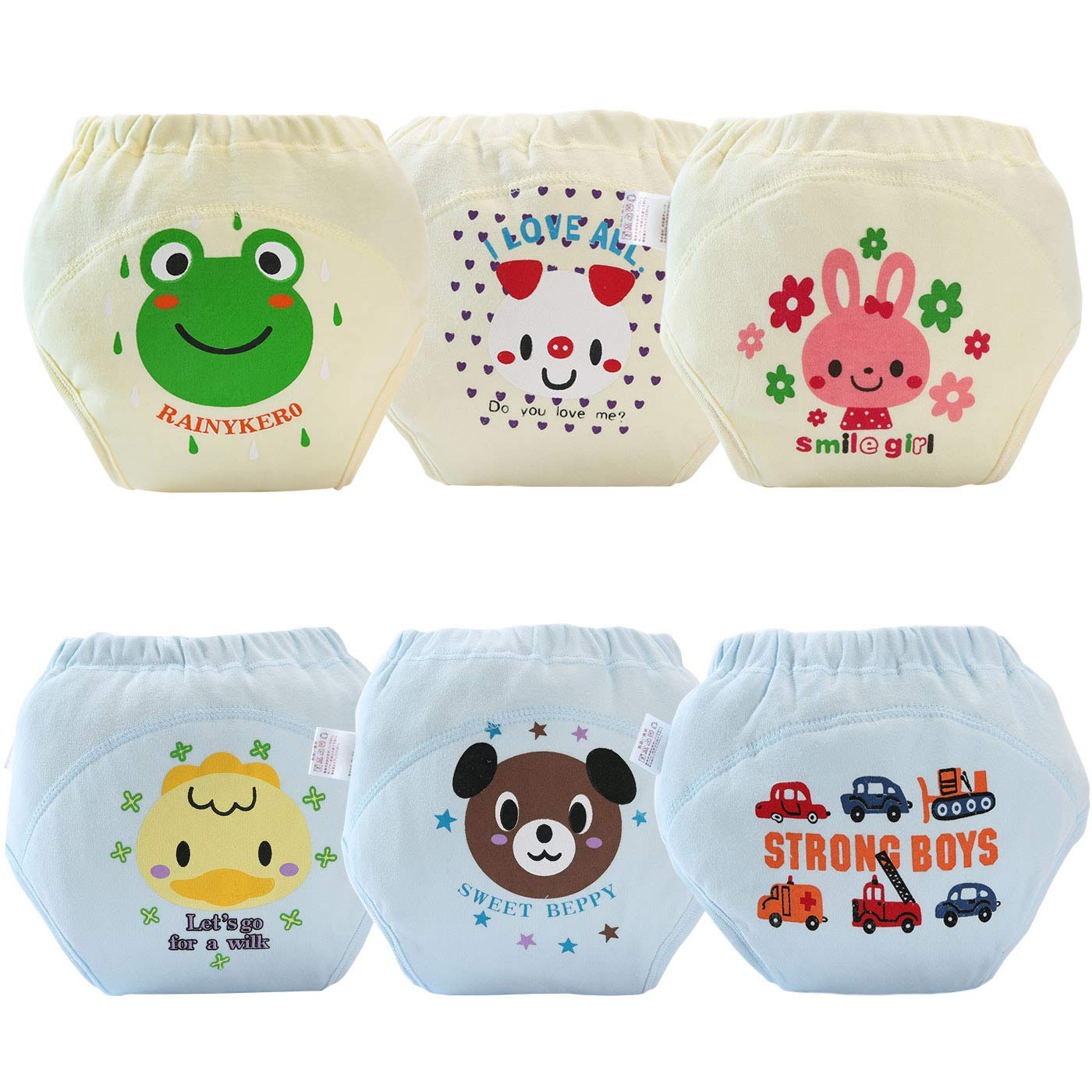 AUBIG Baby Training Underwear 4 Layers Thick Cotton Diaper Pants Pack of 6 H101FMW0001-03