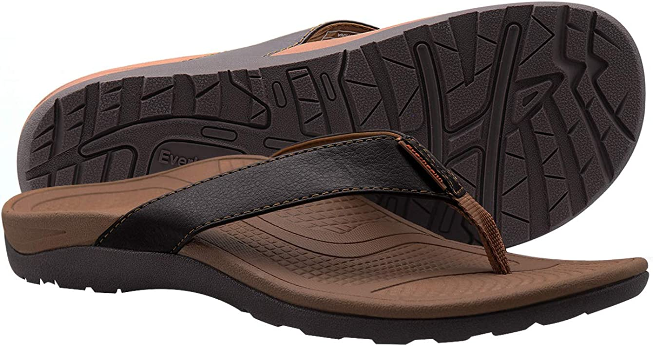 EVERHEALTH Orthotic Flip Flops Thongs Men's Sandals with Comfort Arch Support for Plantar Fasciitis & Flat Feet