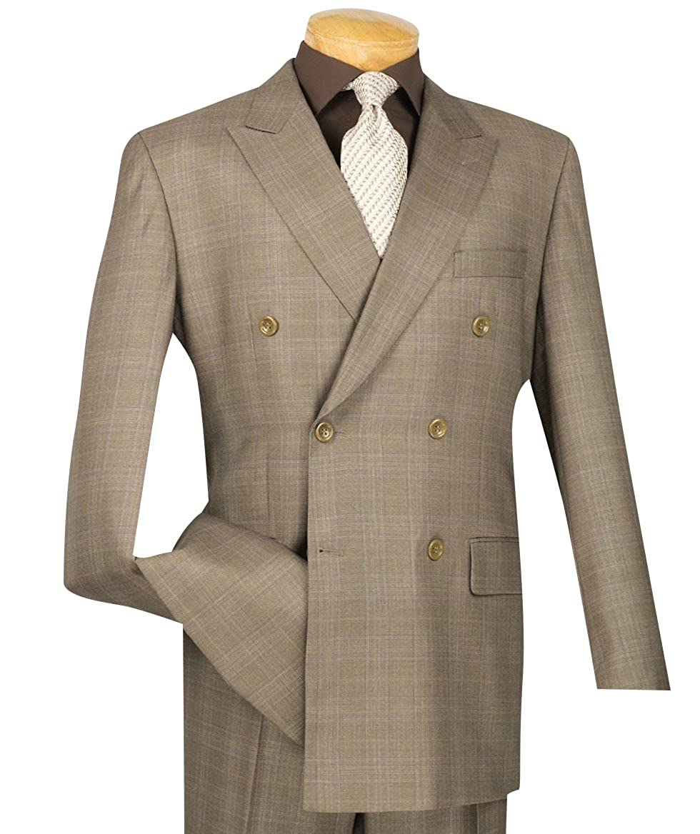 1940s Men's Suit History and Styling Tips VINCI Mens Glen Plaid Double Breasted 6 Button Classic-Fit Suit New $114.95 AT vintagedancer.com