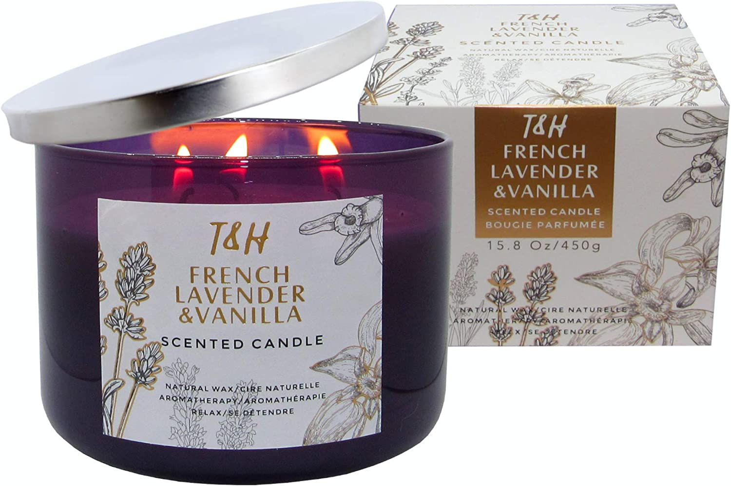 T&H French Lavender & Vanilla Candle Aromatherapy Relaxation Handmade Pure Soy Wax 3-Wick 80 Hour Burn 16 Ounce Long Lasting