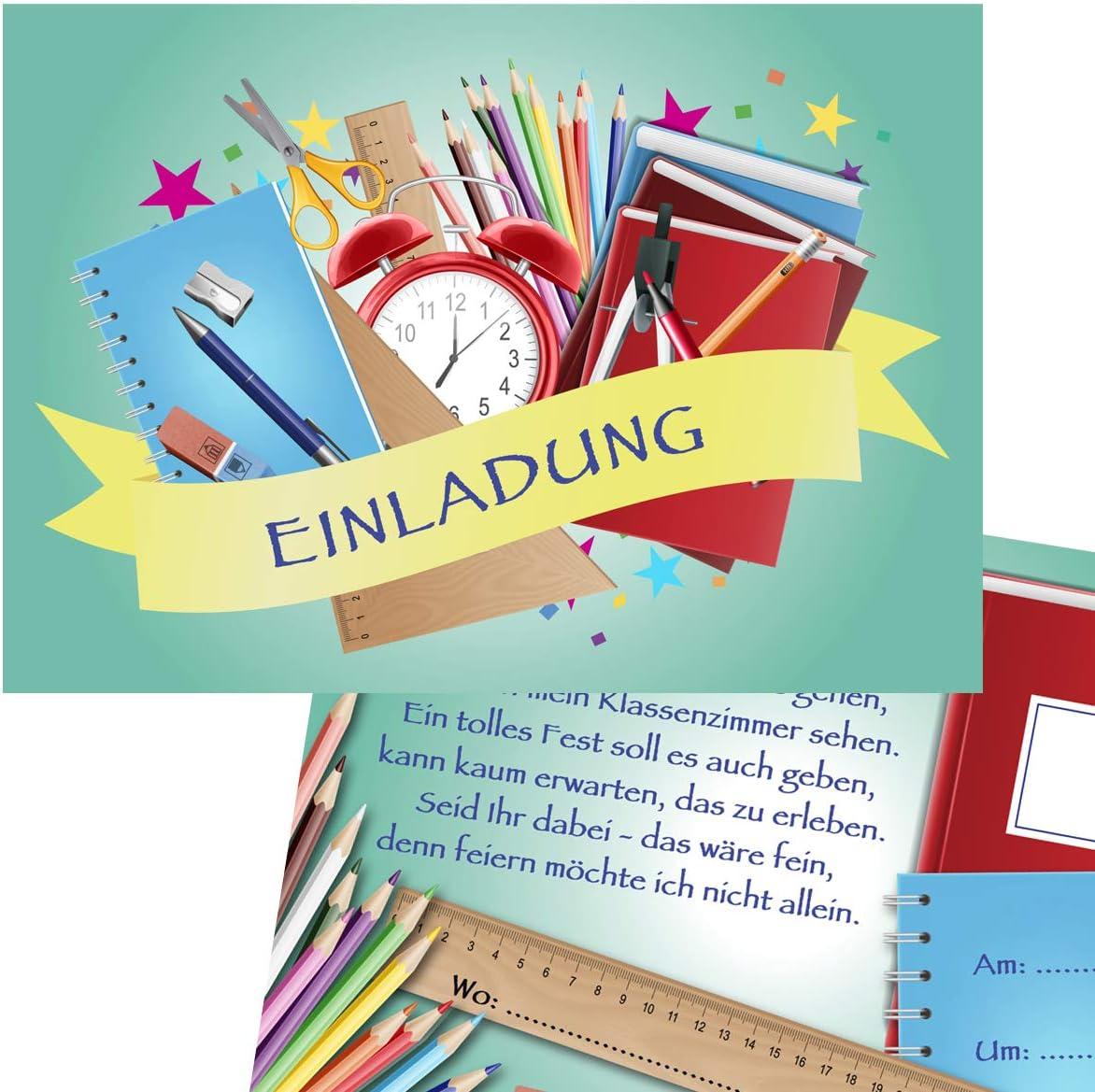 A6 Karten f/ür M/ädchen und Jungen Einladungen f/ür Schulanfang KREATIVES HERZ Einladungskarten zu Einschulung neutral Stifte Mint 10er Set 10 Karten