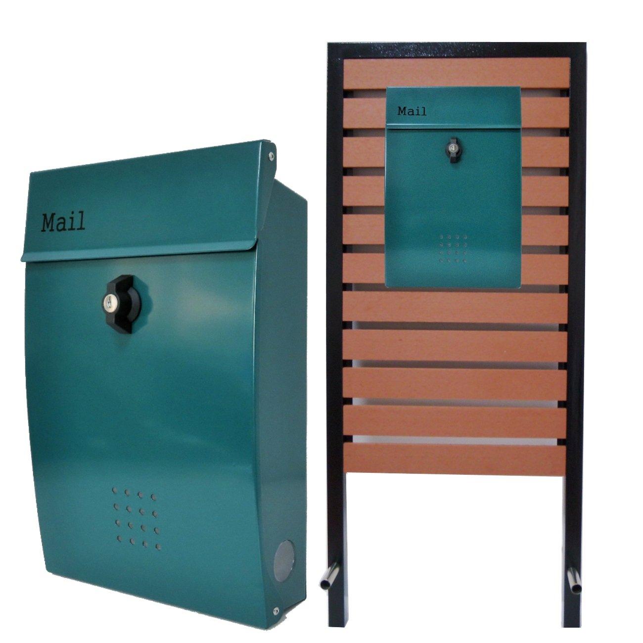 郵便ポスト スタンド付壁掛けプレミアムステンレスグリーン緑色ポスト pm18s-pm138 B076HK4LK8 24880