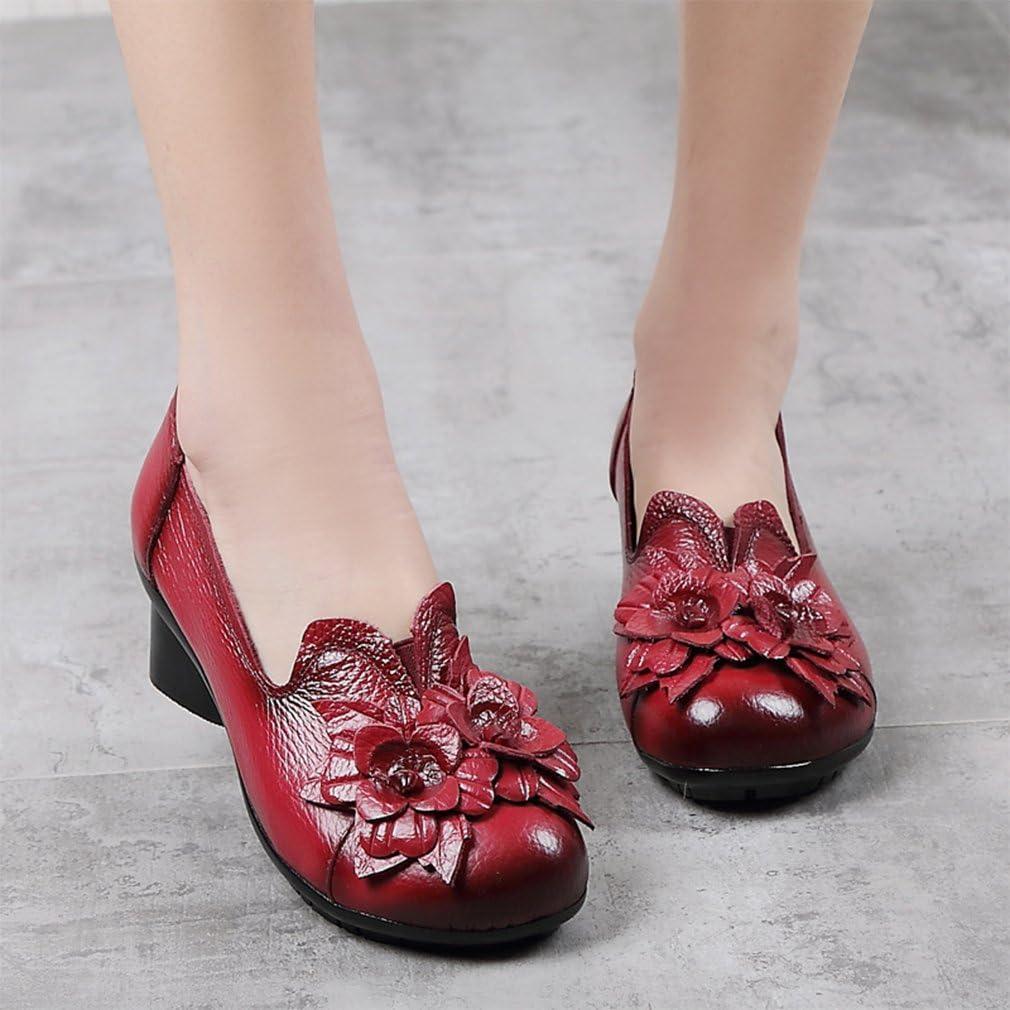 Kyle Walsh Pa Women Retro Round Toe Mid Heel Handmade Flower Soft Shoes Wine Red