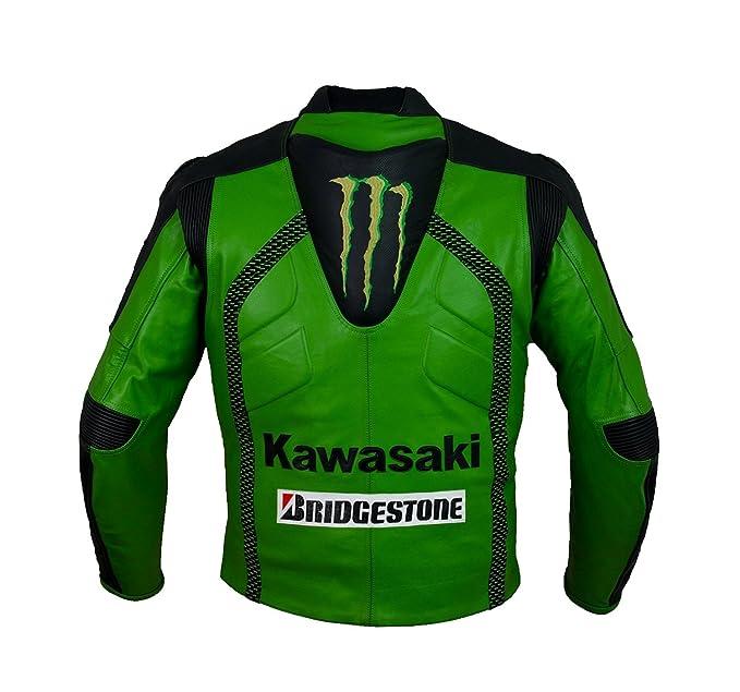 Oficial Kawasaki Racing Chaqueta de cuero (M (EU50)): Amazon.es: Deportes y aire libre