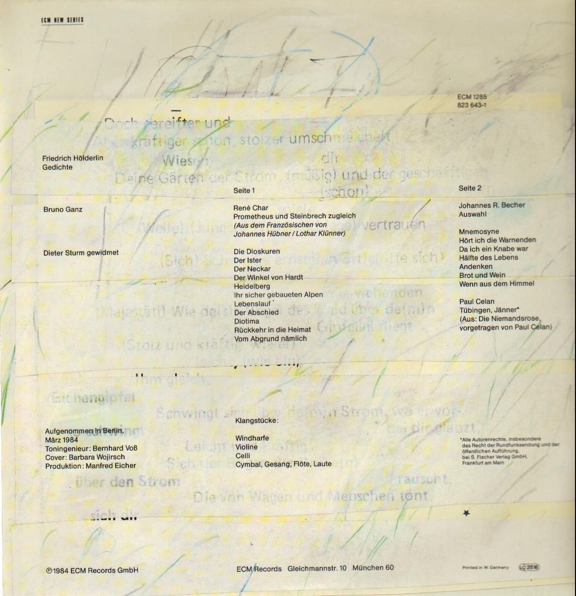 Gedichte Gelesen Von Bruno Ganz Vinyl Lp Vinyl Lp