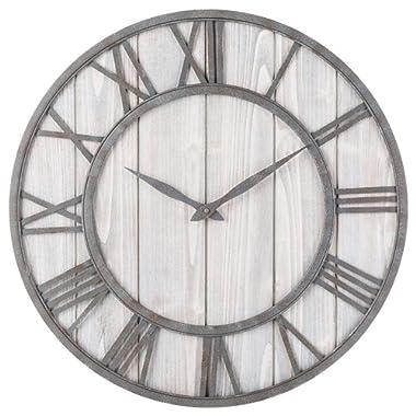 Toright Farm House Metal & Solid Wood Wall Clock Kitchen Wall Clock (Whitewash, 16-inch)