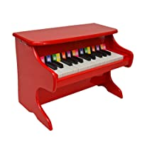 ts-ideen 5312 Kids Wooden Wing Mini Piano with 25 Keys - Black/Red