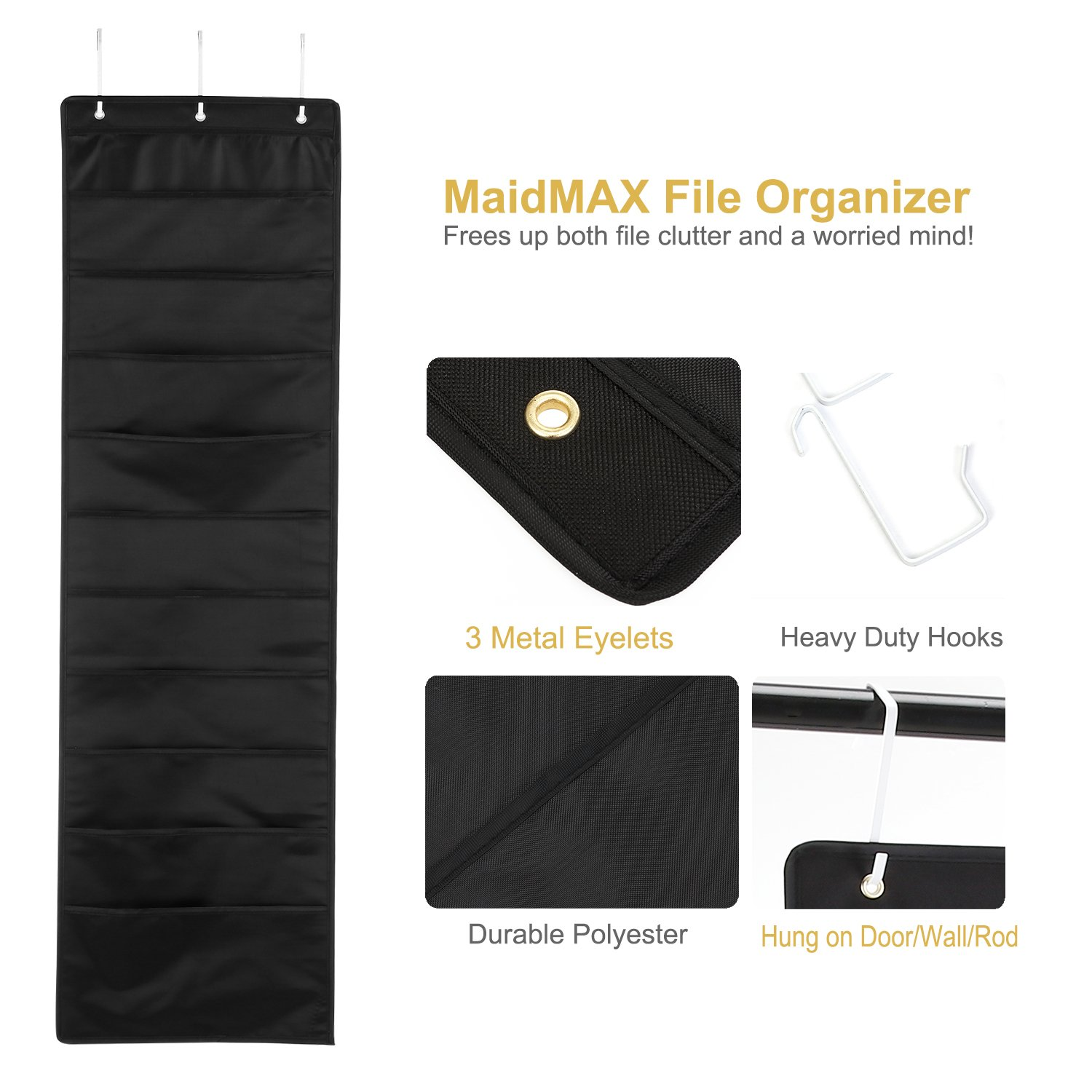 MaidMAX Hanging Wall File Organizer Wall Pocket Chart with Hooks for Home /& Office 10 Pockets Black Classroom