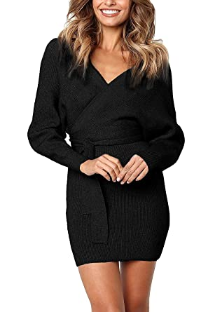 8374df5f860 Womens Sweater Dresses Sexy Backless Long Sleeves Mini Bodycon Dress(Black- Small)