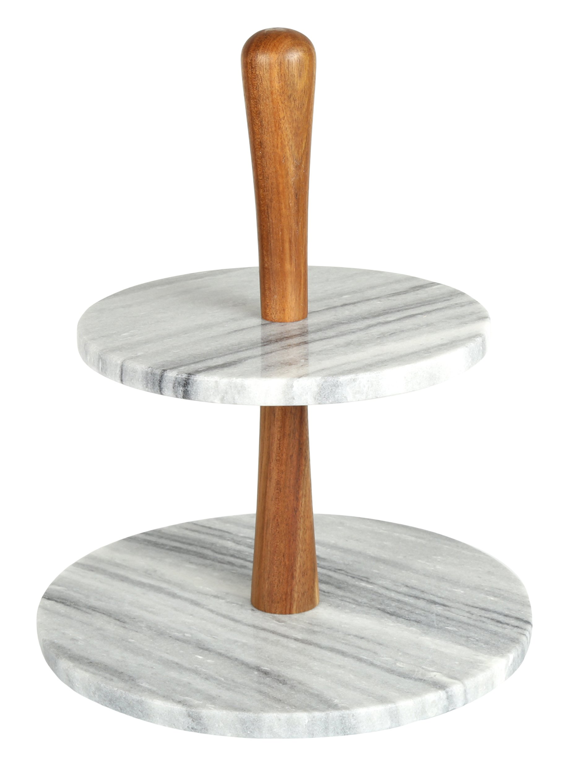 Creative Home 32981 Natural Marble Stone and Acacia Wood 2-Tier Cake Stand Dessert Server 10'' Diam. x 11-3/4'' H Grey