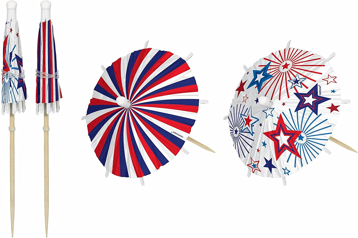 Patriotic Jumbo Umbrella Wood Picks (Pack of 24 Food Pick Sticks) Perfect for Drinks, Cup Cake, Sandwiches, Cakes & Other Treats