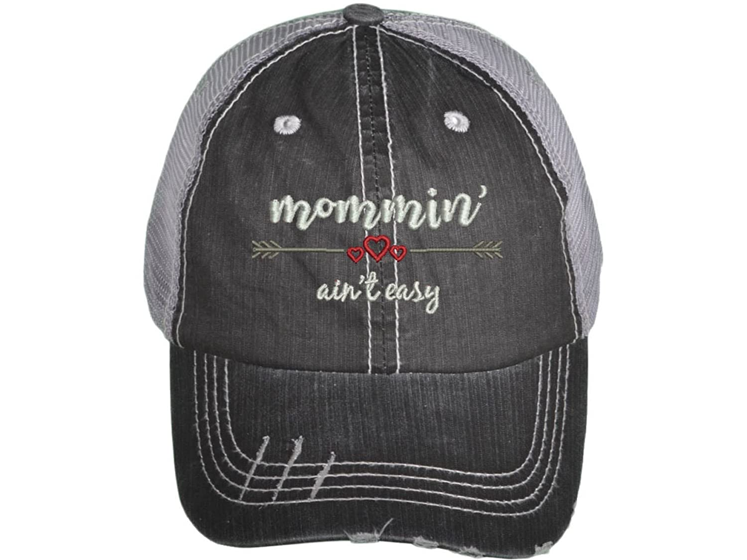 Mommin' Ain't Easy, Embroidered Hat for Mothers Day, Gifts for Mom, Women's Distressed Trucker Hat Mommin' Ain't Easy