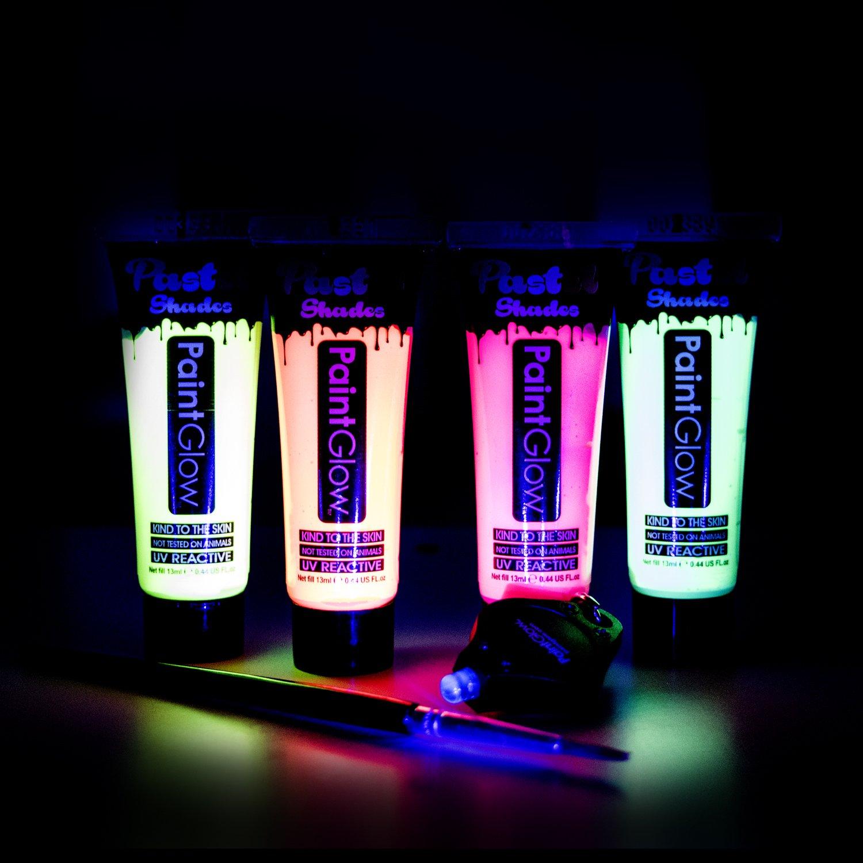 Paintglow UV Face Paint set di 4pastello con pennello e vernice, corpo di luce UV, UV neon Face Paint, UV Glow, Glow in the Dark Body Paint, Kids Face Paint, body Paint, UV Reactive, UV, UV glitter, Chunky glitter di trucco, cosmetici glitter, body Paint,