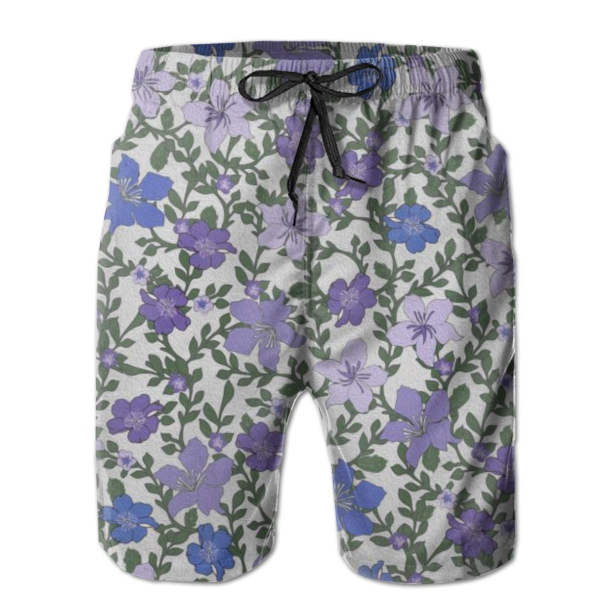 Rose and Hubble Ivys Flowers Purple Mens Board Shorts Swim Mesh Lining and Side Pocket