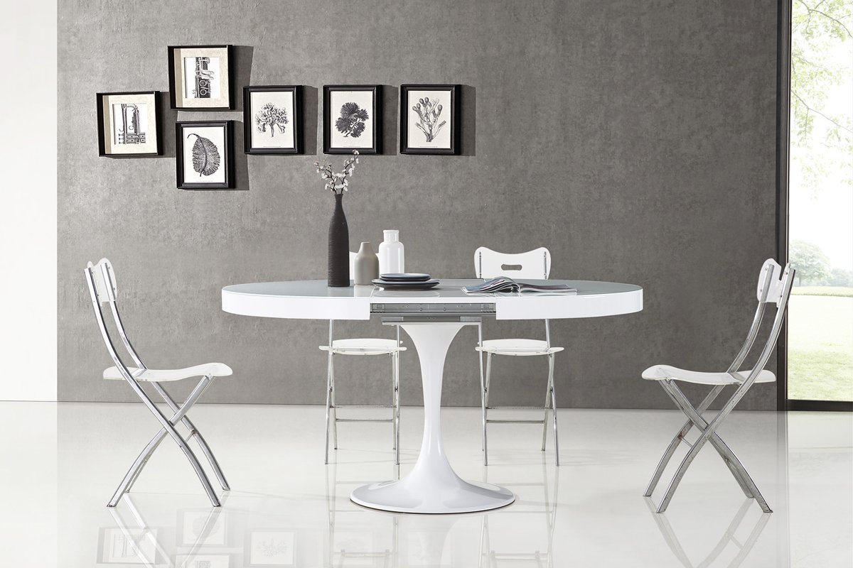 Table À Blanche Manger Isola Ronde Design Lq5Rc3AjS4