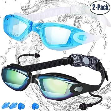 980421290d Gafas de Natación de COOLOO, Paquete de 2, Gafas para Nadar Antiempañado y  Anti