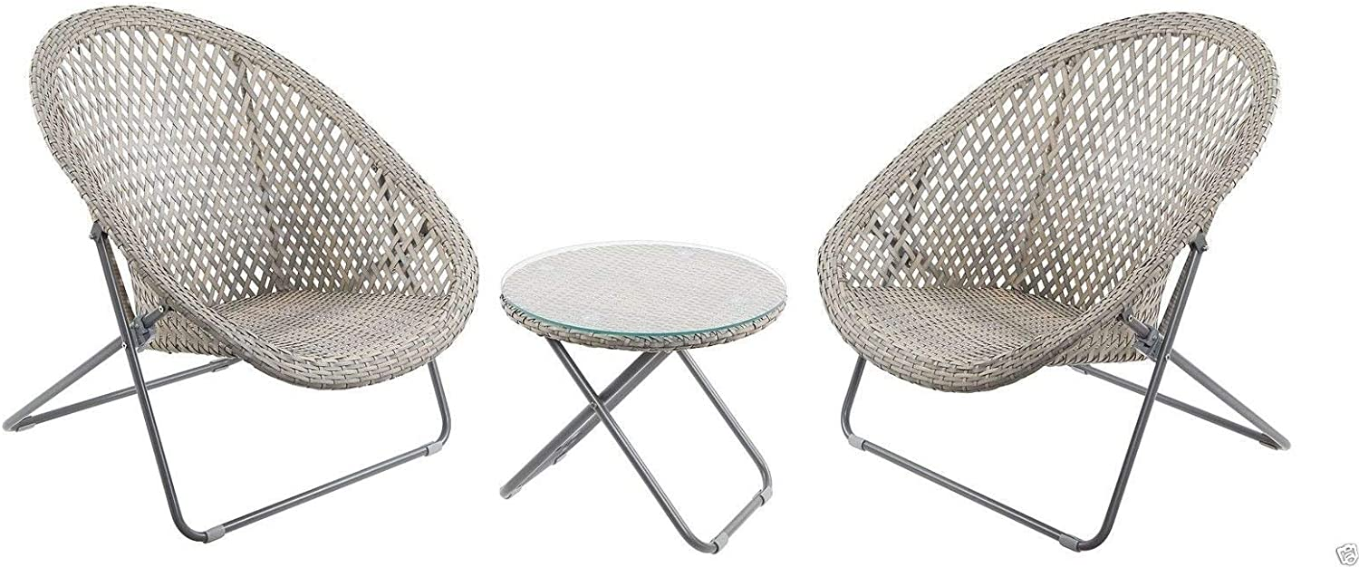 Faux Rattan Lounge Furniture Set, Ideal for a Conservatory And as a Patio  Garden Set - Includes Two Very Well Made Foldaway Chairs and Round Table