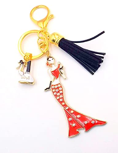 4bdd05295a Image Unavailable. Image not available for. Color  Red Gold Glamour Girl Keychain  Purse Bag Charm Women s Pocketbook Black Tassel ...