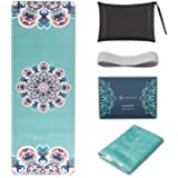 SNΛKUGΛ Travel Yoga Mat Foldable, 1/16 Inch Thick Non Slip Yoga Mat Lightweight w/Carrying Bag, Eco Friendly Natural Rubber &