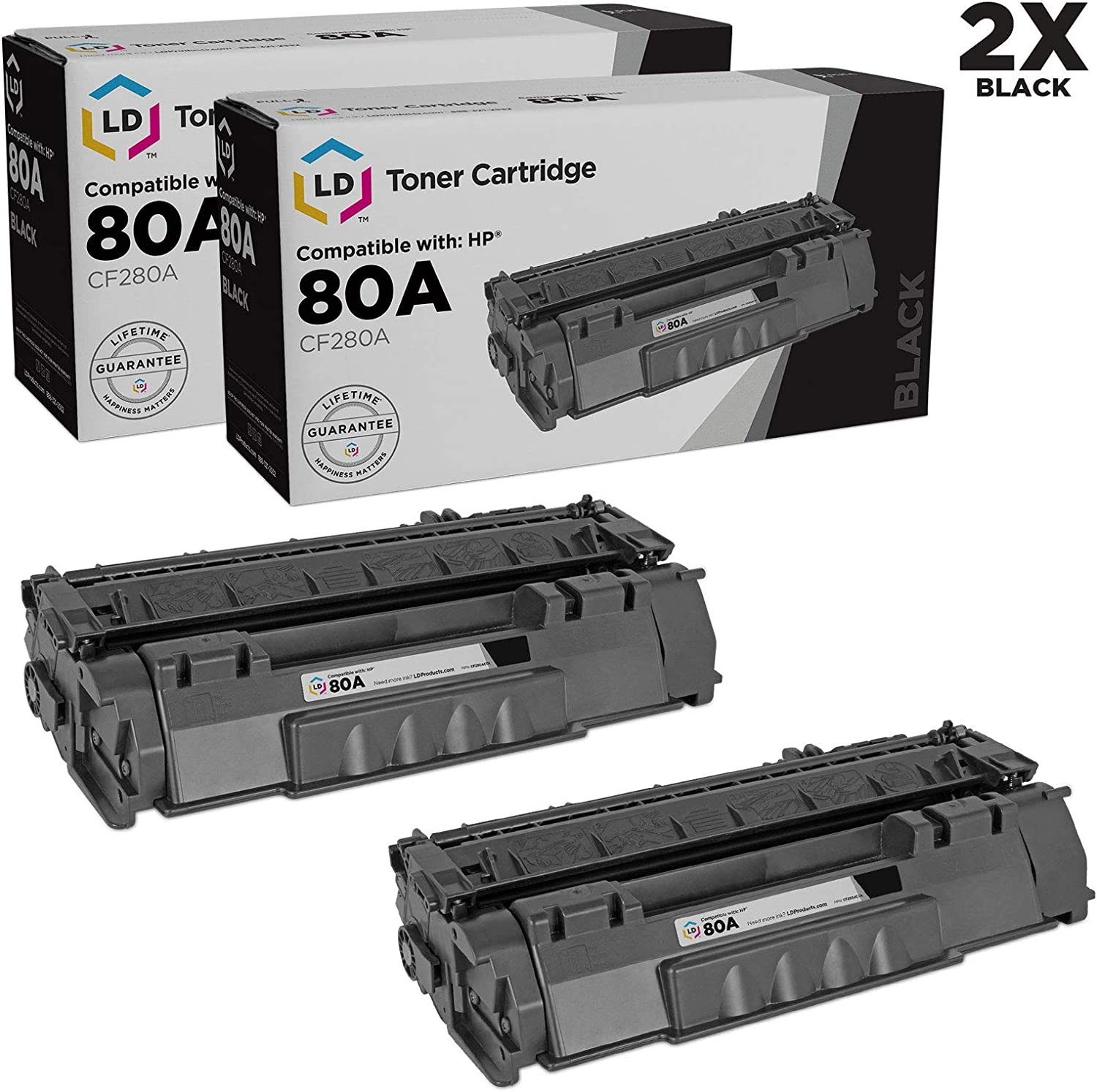 LD Compatible Toner Cartridge Replacements for HP 80A CF280A (Black, 2-Pack)