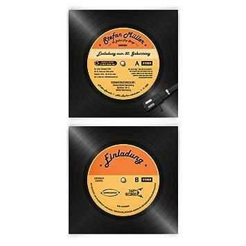 Einladungskarten Zum Geburtstag (60 Stück) Als Schallplatte Vinyl LP CD  Musik Platte