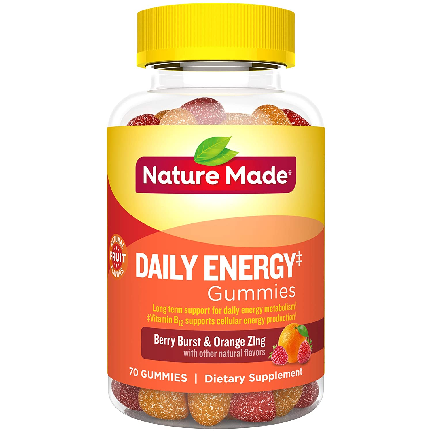 Nature Made Daily Energy‡ Gummies with Vitamin A, C, D3, B12, Biotin, Zinc, 70 Count for Metabolic Health‡ (Packaging May Vary)