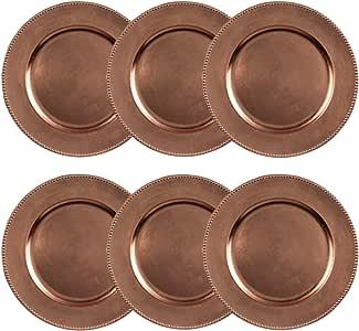 Platos de carga decorativos redondos con cuentas metálicas, 14 pulgadas, redondos, juego de 6, para mesa de comedor o decoración: Amazon.es: Hogar