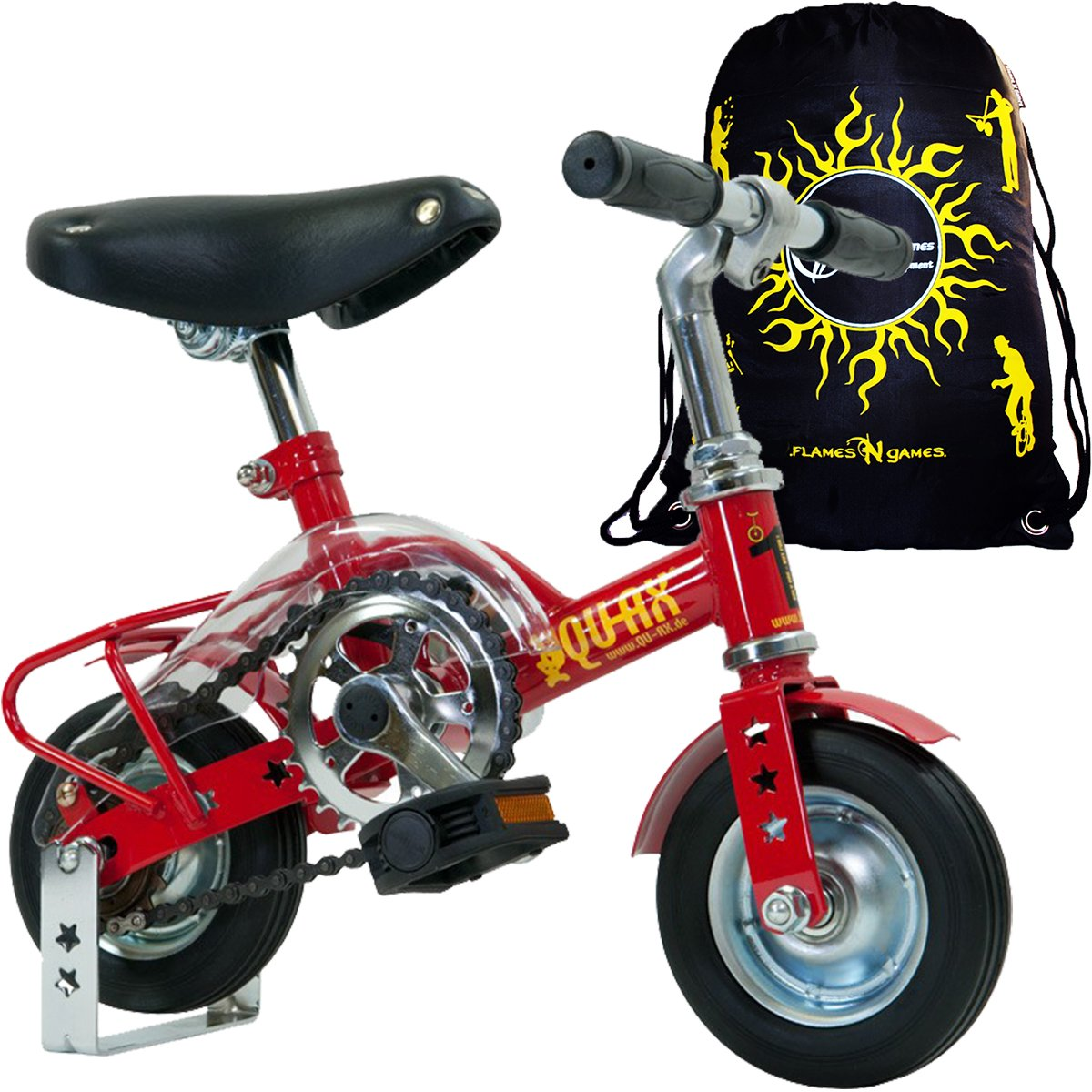 Qu-Ax 6'' Mini Bike In Red For Clowns and Professional Performers + Flames N' Games Travel Bag!