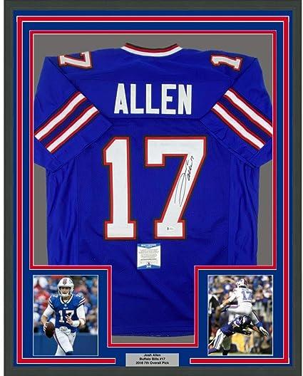 Framed Autographed/Signed Josh Allen 33x42 Buffalo Blue Football Jersey Beckett BAS COA