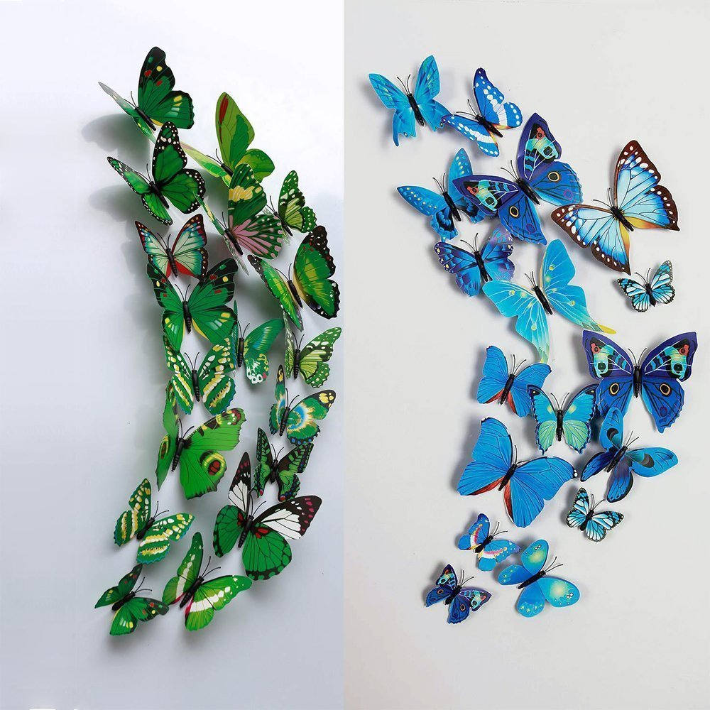buy 12 pcs 3d butterfly wall stickers art decor decals purple