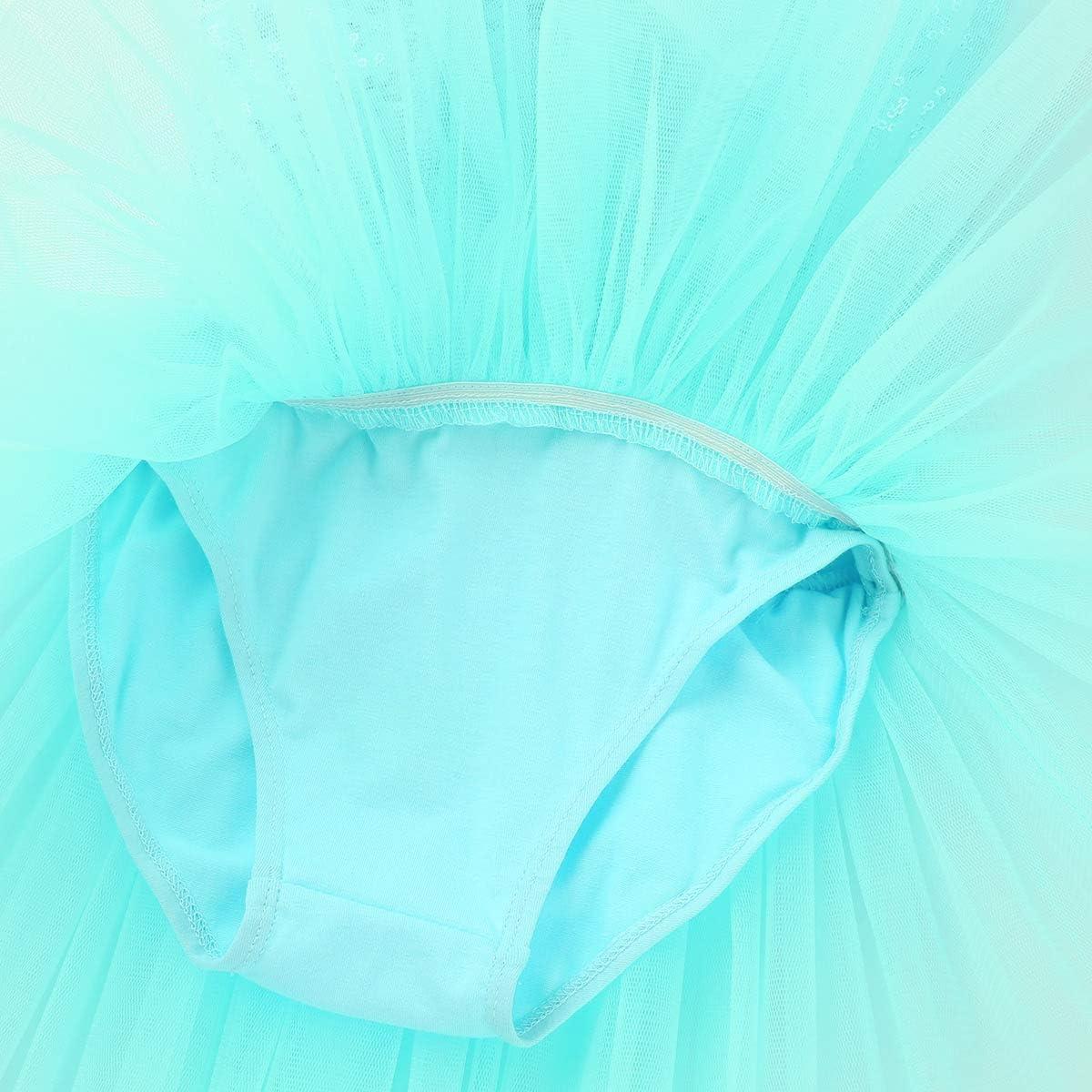 iEFiEL Tut/ú Maillot Vestido de Ballet Algod/ón con Lentejuelas Tut/ú Falda Brillantes con Braga Interior para Ni/ña 4 a 8 A/ños Body Tirantes