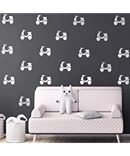 """Set of 20 Vinyl Wall Art Decals - Motor Scooters - 4"""" x 5"""" Each - Fun Modern Urban Decor for Home Apartment Workplace Decor - Cool Hipster Design for Living Room Bedroom Decals (4"""" x 5"""" Each, White)"""