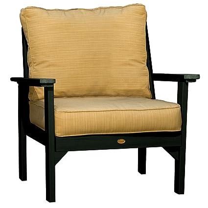 Highwood Pocono Deep Seating Armchair, Charleston Green With Sunbrella  Dupione Bamboo Cushions