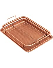 HOMYL 2 Piece Set Non-Stick Oven Mesh Chips Baking Tray Healthy Crisping Basket