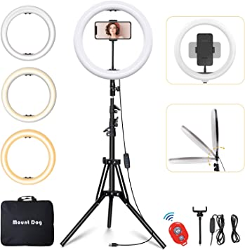 MountDog LED Ring Light 14 inch Dimmable Selfie Ring with Tripod Stand, Flexible Phone Holder, Bluetooth Remote Control and Carry Bag for Live Stream Makeup Portrait YouTube Video Shooting TikTok