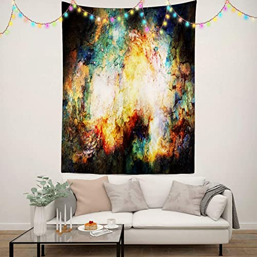BaoNews Bright Artistic Abstract Tapestry, Cosmic Space and Stars Abstract Fire and Crackle Large Wall Hanging Tapestry Bedroom Living Room Dorm 82.7 x 59.1 inches Colorful 10